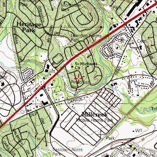 Topographic Map of Pinecrest, DE