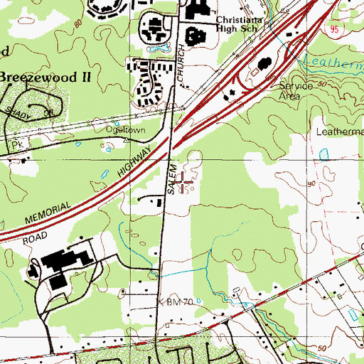 Topographic Map of Christiana Industrial Park, DE