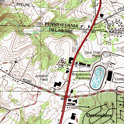 Topographic Map of Concord Hills, DE