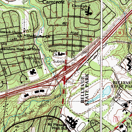 Topographic Map of Carrcroft Station, DE