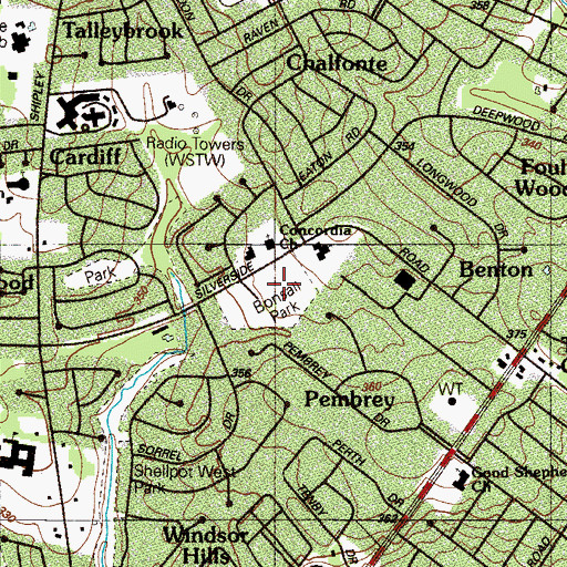Topographic Map of Bonsall Park, DE