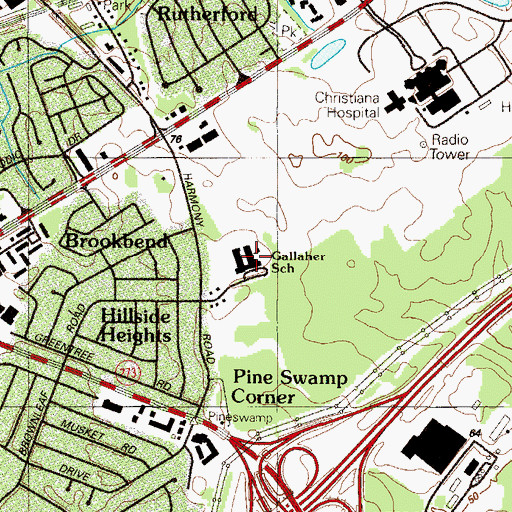 Topographic Map of Robert C Gallaher Elementary School, DE