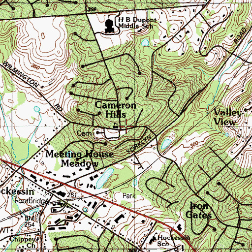 Topographic Map of Hockessin Friends Meetinghouse, DE