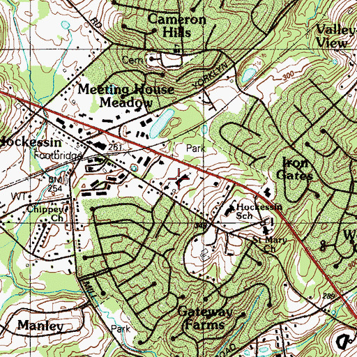 Topographic Map of Hockessin United Methodist Church, DE