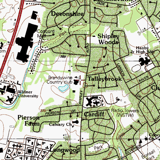 Topographic Map of Brandywine Country Club, DE