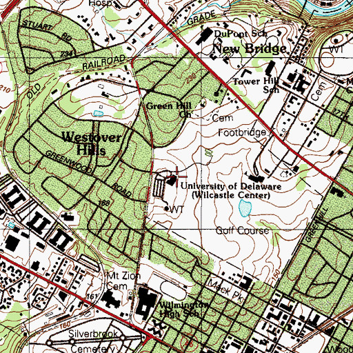 Topographic Map of Green Hill Country Club, DE