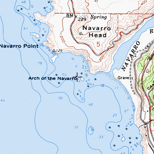 Topographic Map of Arch of the Navarro, CA
