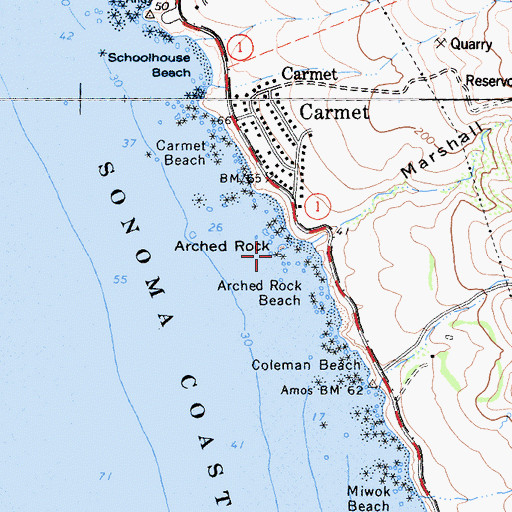 Topographic Map of Arched Rock, CA
