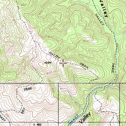 Topographic Map of Baldy Trail, CA
