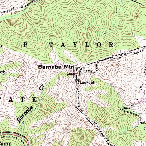 Topographic Map of Barnabe Mountain, CA