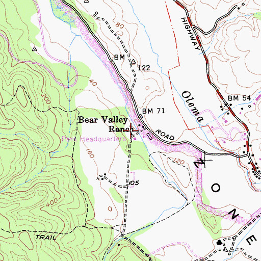 Topographic Map of Bear Valley Ranch, CA
