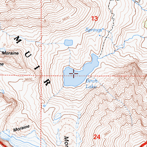 Topographic Map of Birch Lake, CA