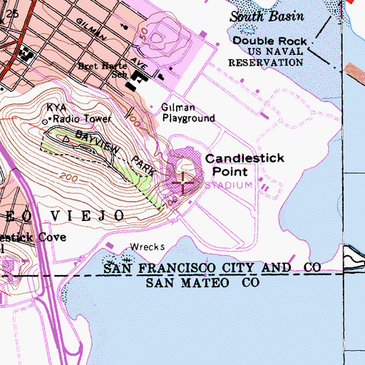 Topographic Map of Candlestick Point, CA