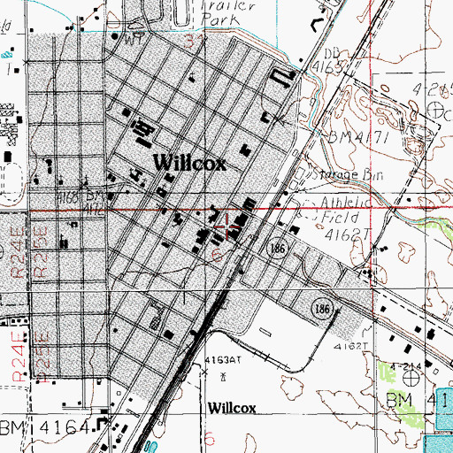 Topographic Map of Willcox City Hall, AZ
