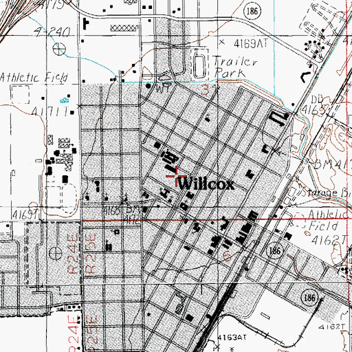 Topographic Map of Willcox Community Center Park, AZ