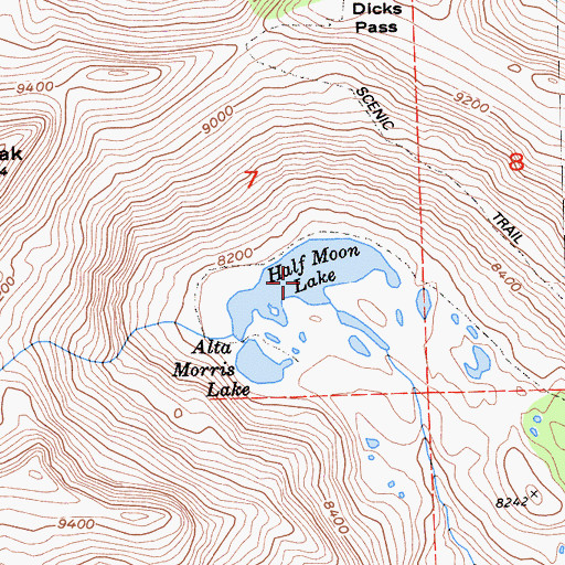 Topographic Map of Half Moon Lake, CA