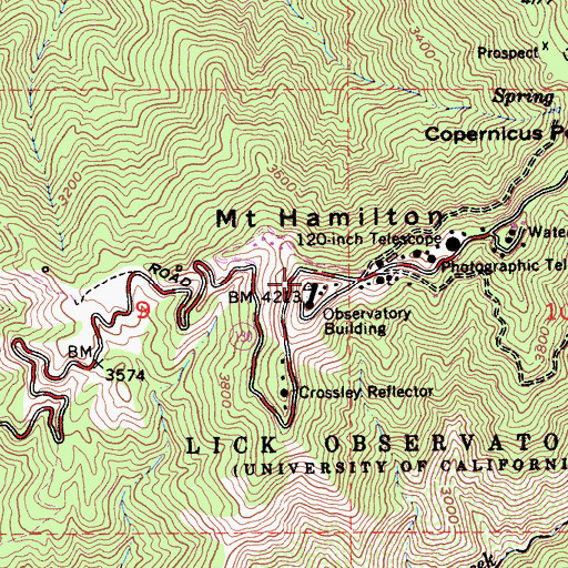 Topographic Map of Mount Hamilton, CA