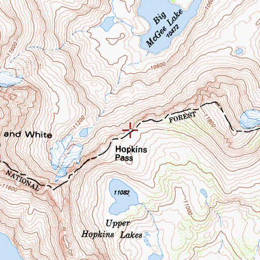 Topographic Map of Hopkins Pass, CA