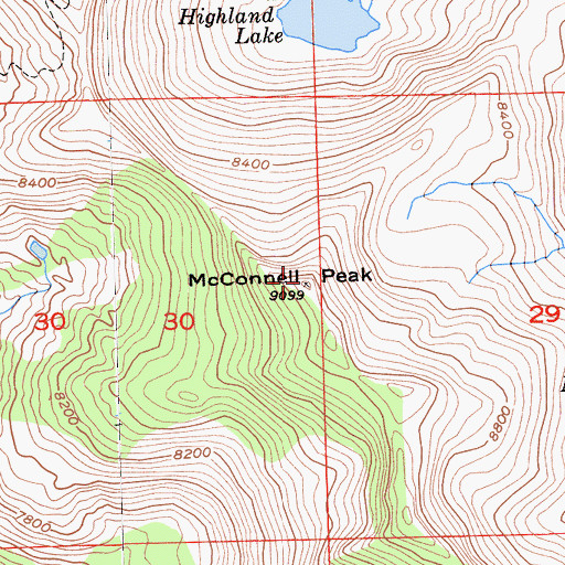Topographic Map of McConnell Peak, CA