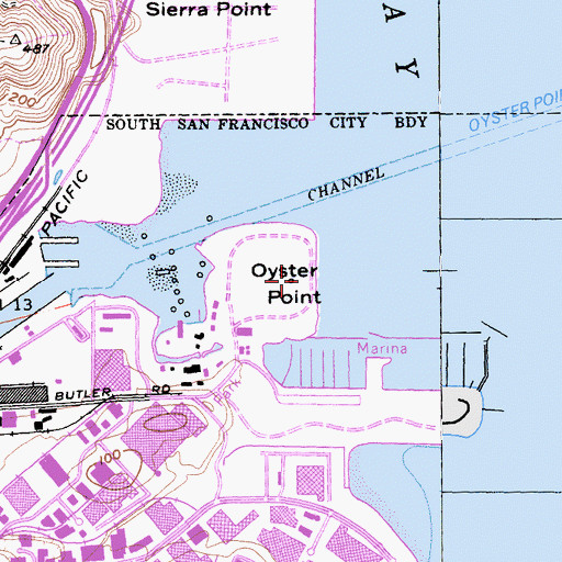 Topographic Map of Oyster Point, CA