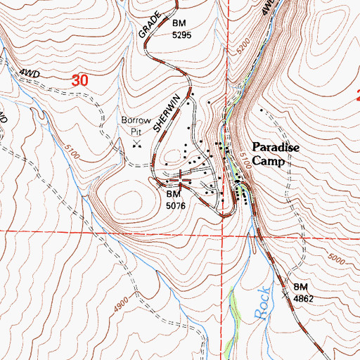 Topographic Map of Paradise Camp, CA