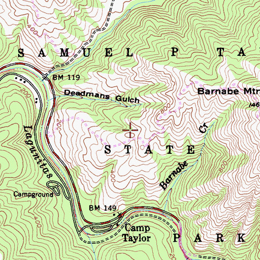Topographic Map of Samuel P. Taylor State Park, CA