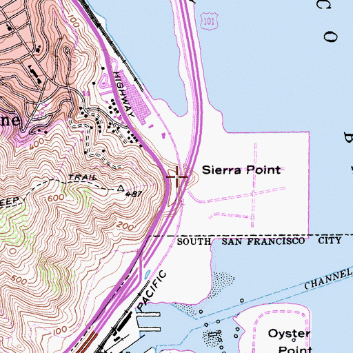 Topographic Map of Sierra Point, CA