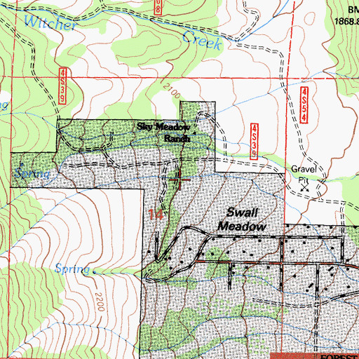 Topographic Map of Sky Meadow Ranch, CA