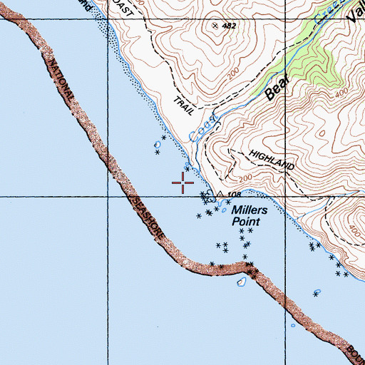 Topographic Map of Coast Creek, CA