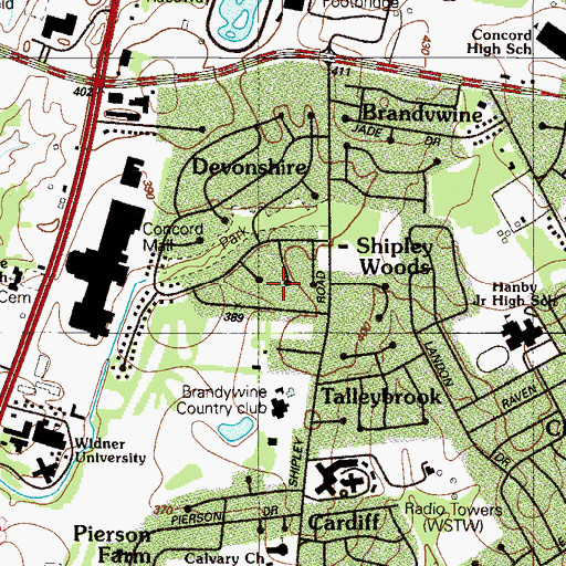 Topographic Map of Chapelcrest, DE