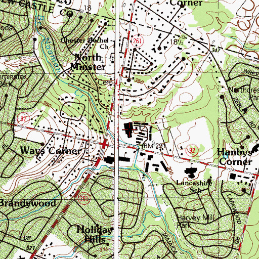 Topographic Map of Valleyview Shopping Center, DE