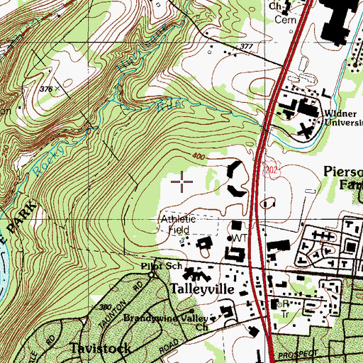 Topographic Map of Village of Rocky Run, DE