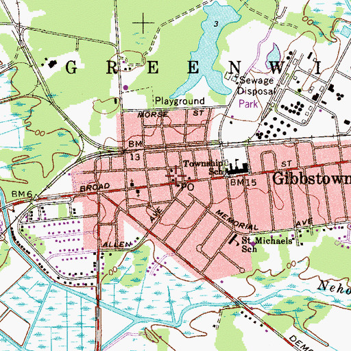 Topographic Map of Greenwich Township Police Department, NJ