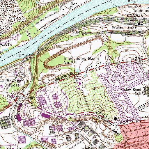 Topographic Map of Beidler Knoll, PA