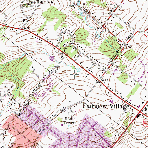 Topographic Map of Berwick Place, PA