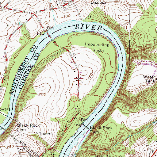 Topographic Map of Black Rock County Preserve, PA