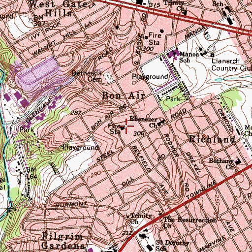 Topographic Map of Bon Air Fire Company Station 58, PA