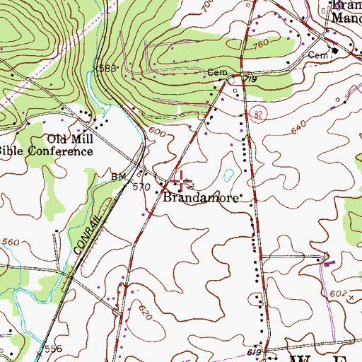Topographic Map of Brandamore Post Office, PA
