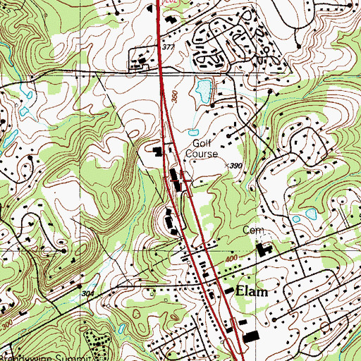 Topographic Map of Brandywine Racket Club, PA