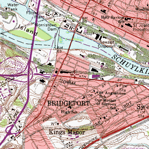 Topographic Map of Bridgeport Borough Hall, PA