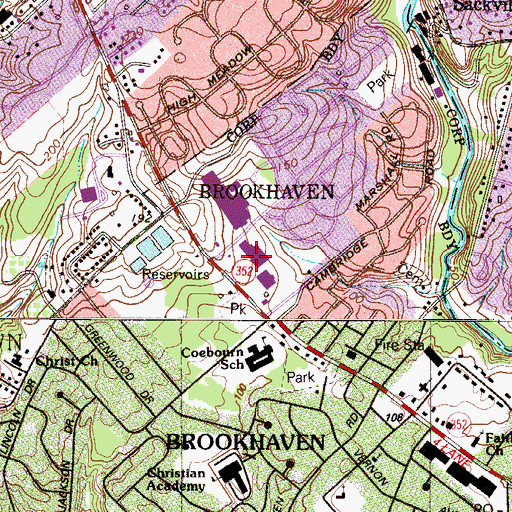 Topographic Map of Brookhaven Borough Hall, PA