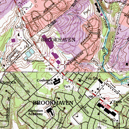 Topographic Map of Brookhaven Fire Company 1 Station 52, PA