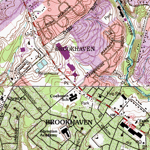 Topographic Map of Brookhaven Police Department, PA