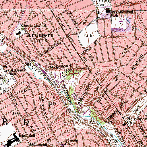 Topographic Map of Bryn Mawr Place, PA