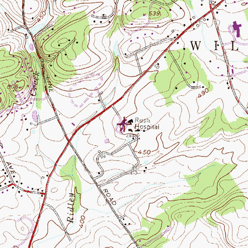 Topographic Map of Bryn Mawr Rehabilitation Center, PA