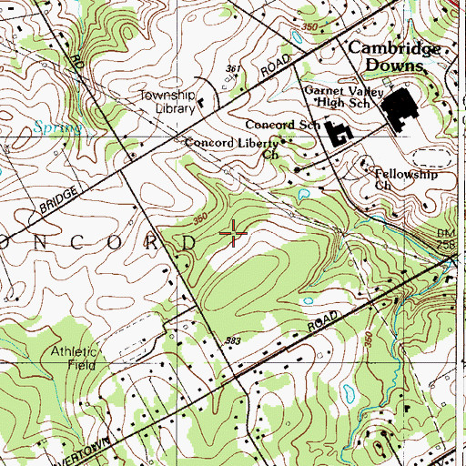 Topographic Map of Concord Hunt, PA