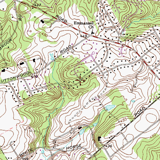 Topographic Map of Buttonwood Farms, PA