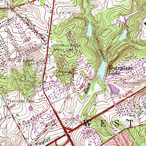 Topographic Map of Caswallen, PA