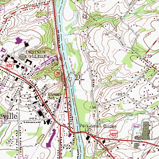Topographic Map of Central Perkiomen Valley Park, PA