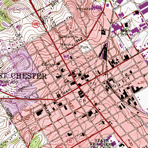 Topographic Map of Chester County Historical Society, PA
